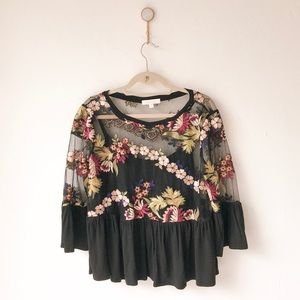 Eri + Ali Black Floral Embroidered Mesh Peplum Top